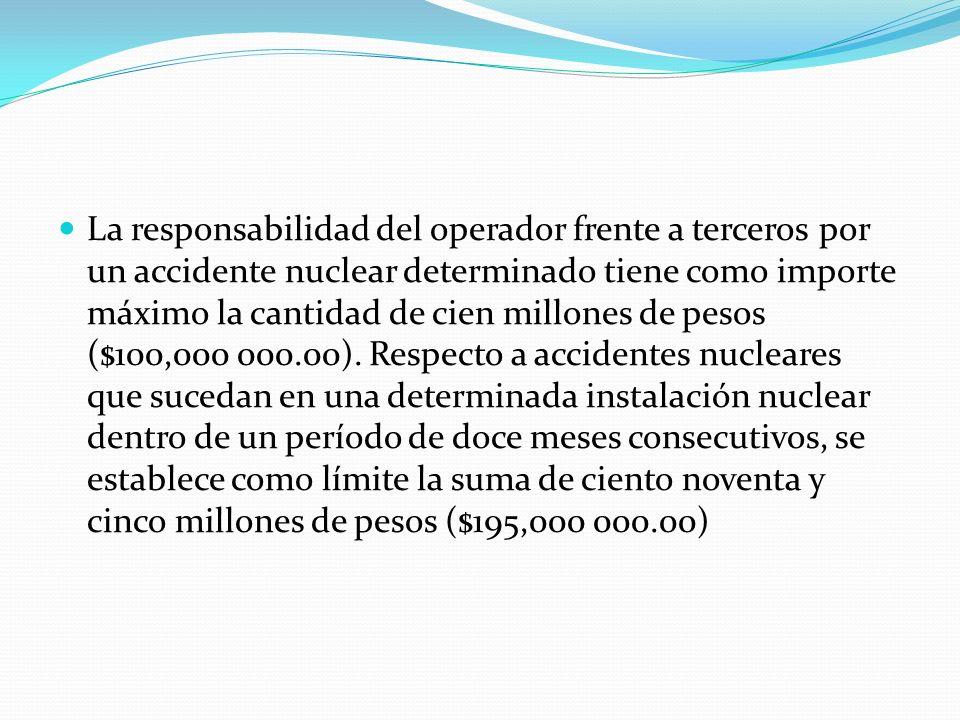 La responsabilidad del operador frente a terceros por un accidente nuclear determinado tiene como importe máximo la cantidad de cien millones de pesos