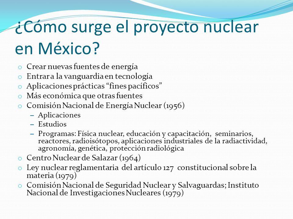 ¿Cómo surge el proyecto nuclear en México? o Crear nuevas fuentes de energía o Entrar a la vanguardia en tecnología o Aplicaciones prácticas fines pac