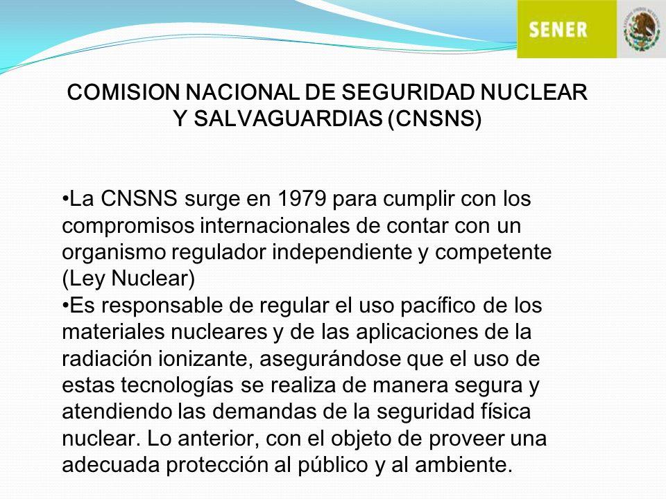 COMISION NACIONAL DE SEGURIDAD NUCLEAR Y SALVAGUARDIAS (CNSNS) La CNSNS surge en 1979 para cumplir con los compromisos internacionales de contar con u