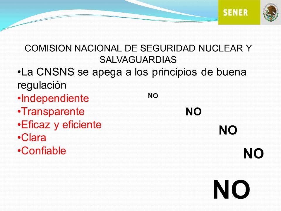 COMISION NACIONAL DE SEGURIDAD NUCLEAR Y SALVAGUARDIAS La CNSNS se apega a los principios de buena regulación Independiente Transparente Eficaz y efic