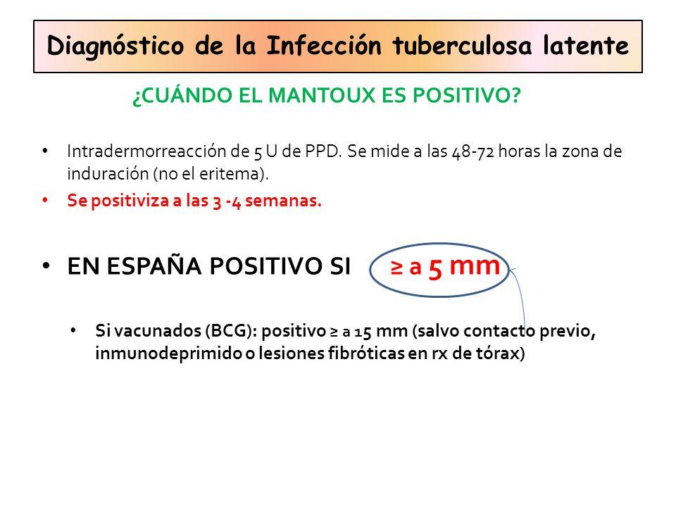 Intradermorreacción de 5 U de PPD. Se mide a las 48-72 horas la zona de induración (no el eritema). Se positiviza a las 3 -4 semanas. EN ESPAÑA POSITI