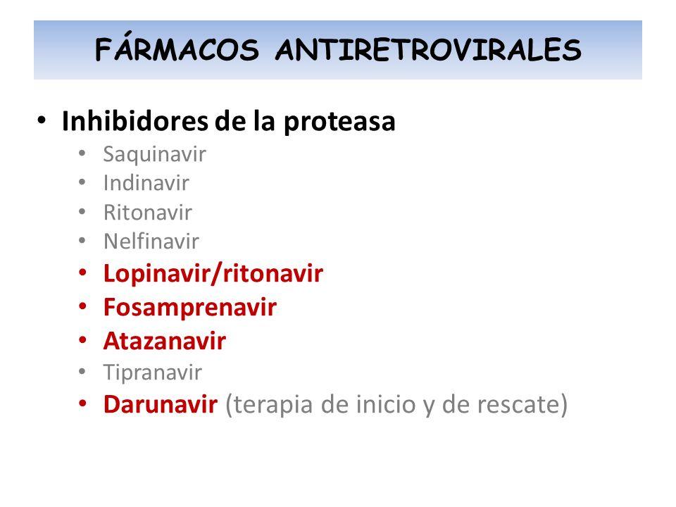 Inhibidores de la proteasa Saquinavir Indinavir Ritonavir Nelfinavir Lopinavir/ritonavir Fosamprenavir Atazanavir Tipranavir Darunavir (terapia de ini