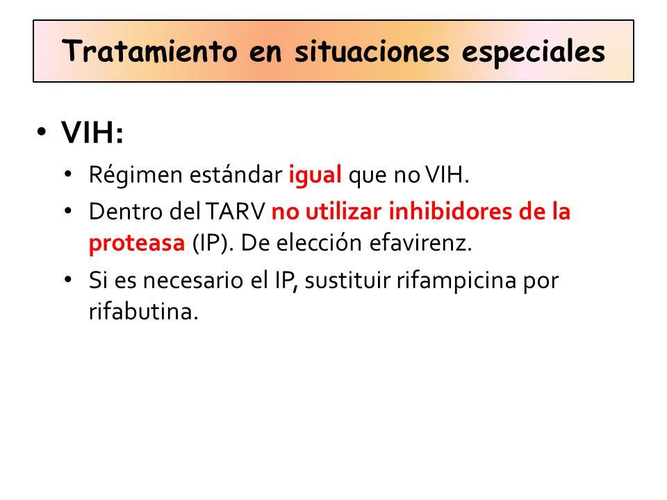 Tratamiento en situaciones especiales VIH: Régimen estándar igual que no VIH. Dentro del TARV no utilizar inhibidores de la proteasa (IP). De elección