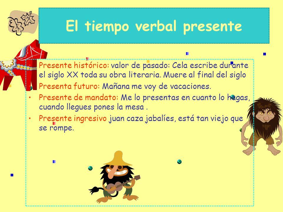 El tiempo verbal presente Presente: acción que sucede en el momento del discurso: Lo juro, llaman a la puerta, hace calor… Presente instantáneo: La ac