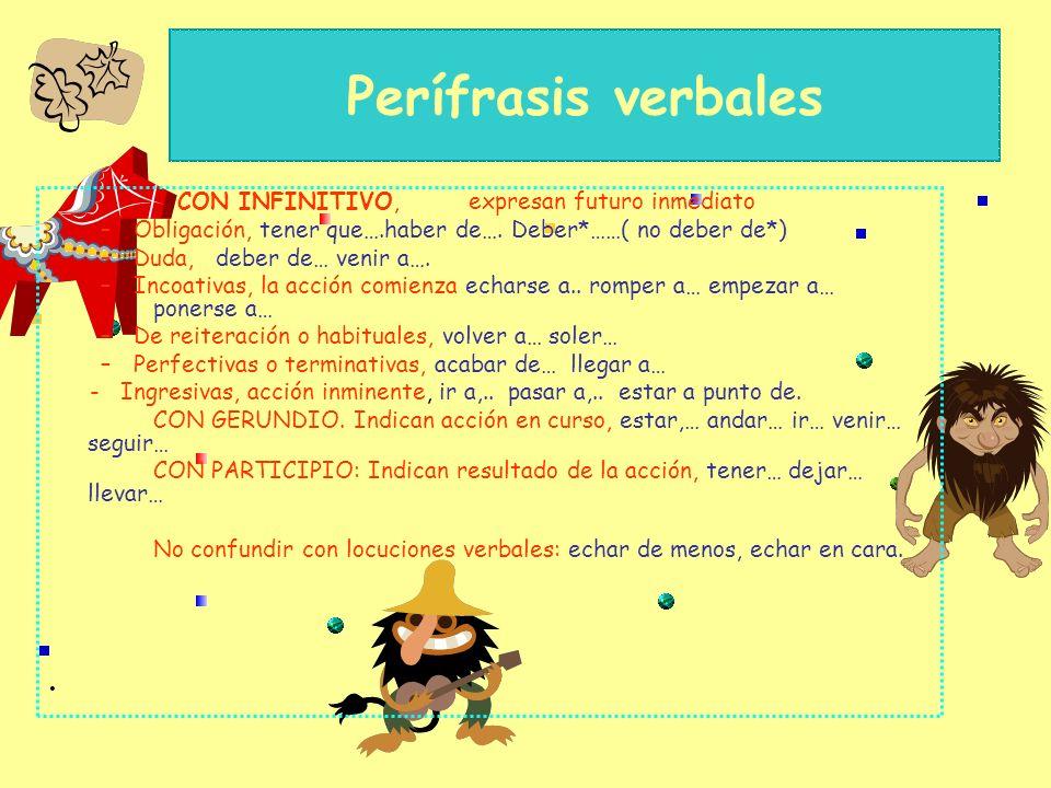 Perífrasis verbales – Verbo auxiliar (en modo personal) + Infinitivo + Gerundio + Participio –Se analiza como el verbo normal, tomando persona, número