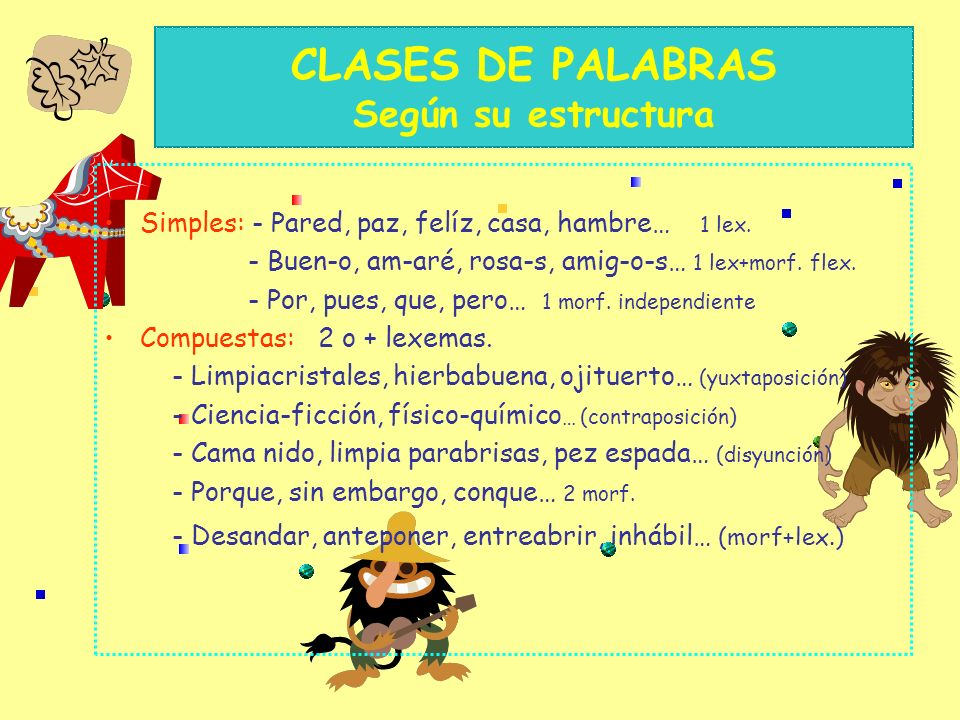 CLASES DE PALABRAS Según su estructura Simples: - Pared, paz, felíz, casa, hambre… 1 lex.