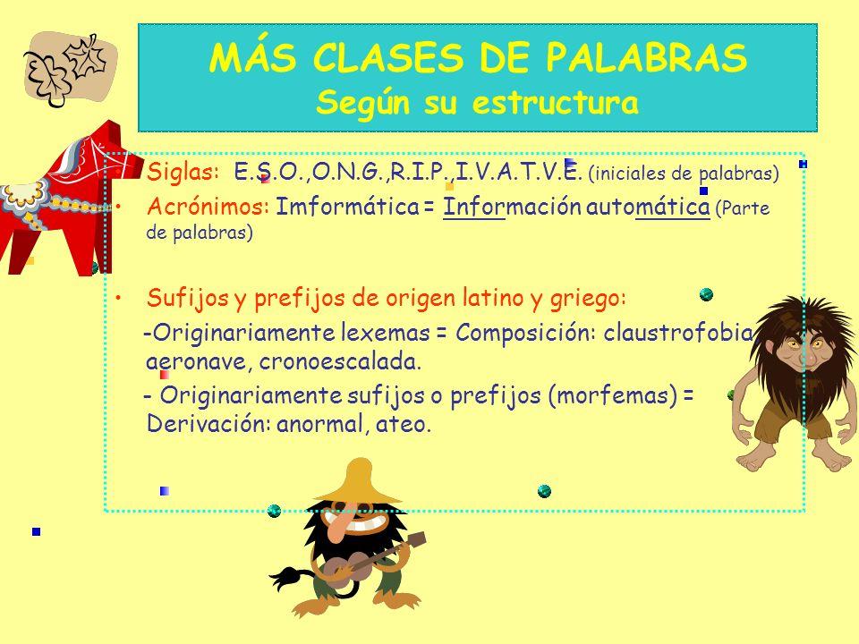 MÁS CLASES DE PALABRAS Según su estructura Siglas: E.S.O.,O.N.G.,R.I.P.,I.V.A.T.V.E.