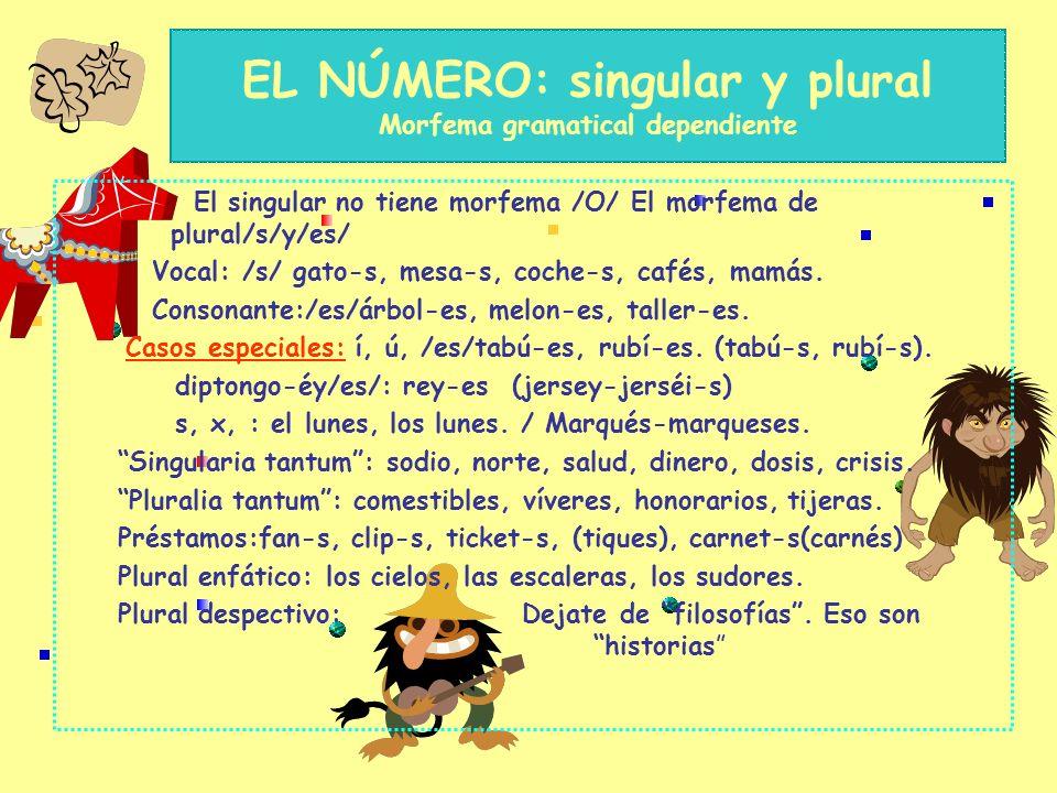 EL NÚMERO: singular y plural Morfema gramatical dependiente El singular no tiene morfema /O/ El morfema de plural/s/y/es/ Vocal: /s/ gato-s, mesa-s, coche-s, cafés, mamás.