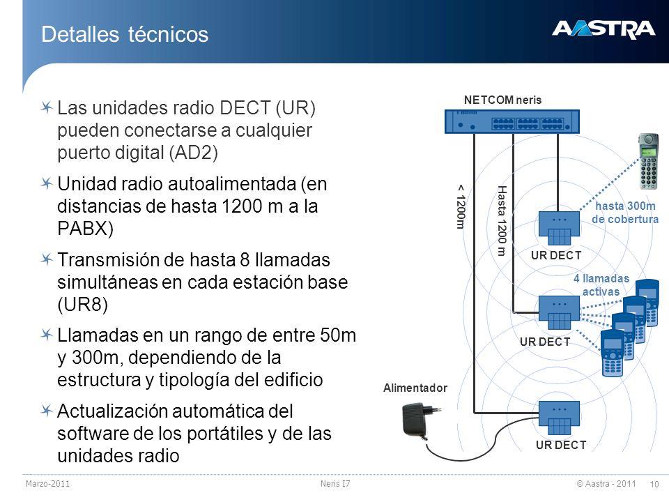 © Aastra - 2011 10 Marzo-2011Neris I7 Detalles técnicos Las unidades radio DECT (UR) pueden conectarse a cualquier puerto digital (AD2) Unidad radio a