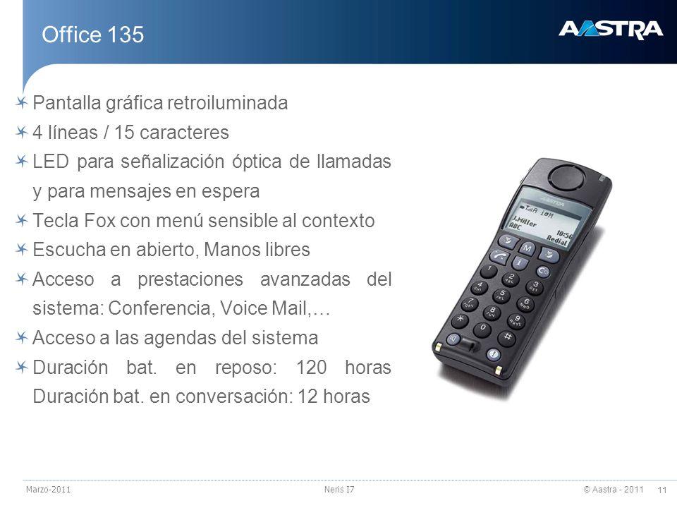 © Aastra - 2011 11 Marzo-2011Neris I7 Office 135 Pantalla gráfica retroiluminada 4 líneas / 15 caracteres LED para señalización óptica de llamadas y p
