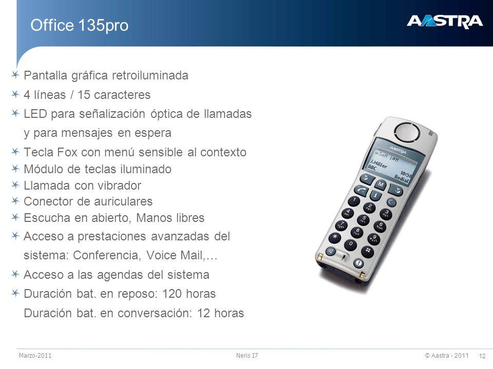 © Aastra - 2011 12 Marzo-2011Neris I7 Office 135pro Pantalla gráfica retroiluminada 4 líneas / 15 caracteres LED para señalización óptica de llamadas