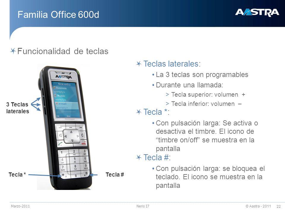 © Aastra - 2011 22 Marzo-2011Neris I7 Familia Office 600d Funcionalidad de teclas 3 Teclas laterales Tecla *Tecla # Teclas laterales: La 3 teclas son