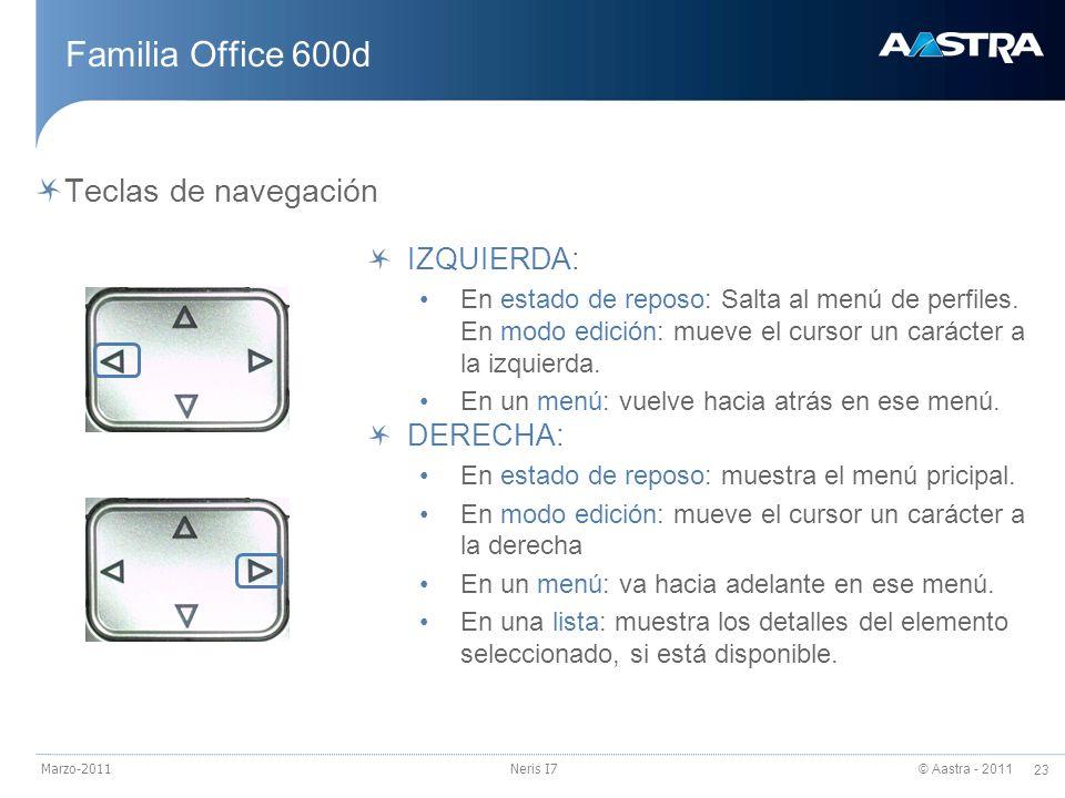 © Aastra - 2011 23 Marzo-2011Neris I7 Familia Office 600d Teclas de navegación IZQUIERDA: En estado de reposo: Salta al menú de perfiles. En modo edic