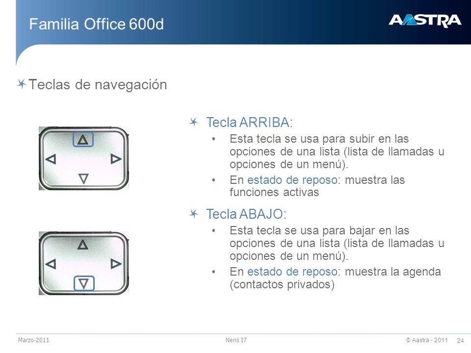 © Aastra - 2011 24 Marzo-2011Neris I7 Familia Office 600d Teclas de navegación Tecla ARRIBA: Esta tecla se usa para subir en las opciones de una lista