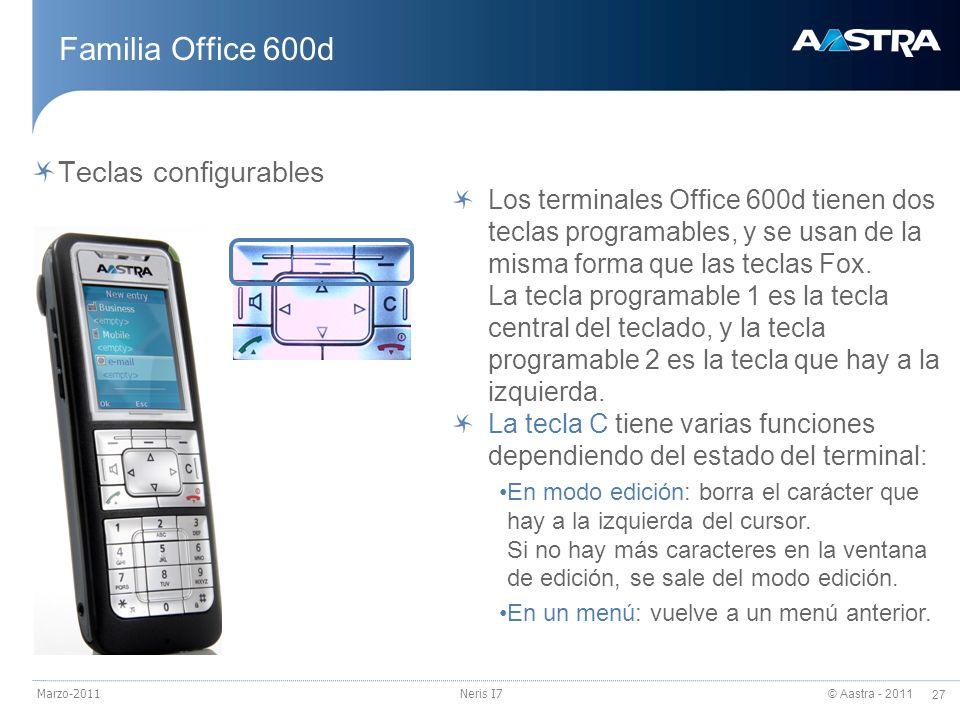 © Aastra - 2011 27 Marzo-2011Neris I7 Familia Office 600d Teclas configurables Los terminales Office 600d tienen dos teclas programables, y se usan de