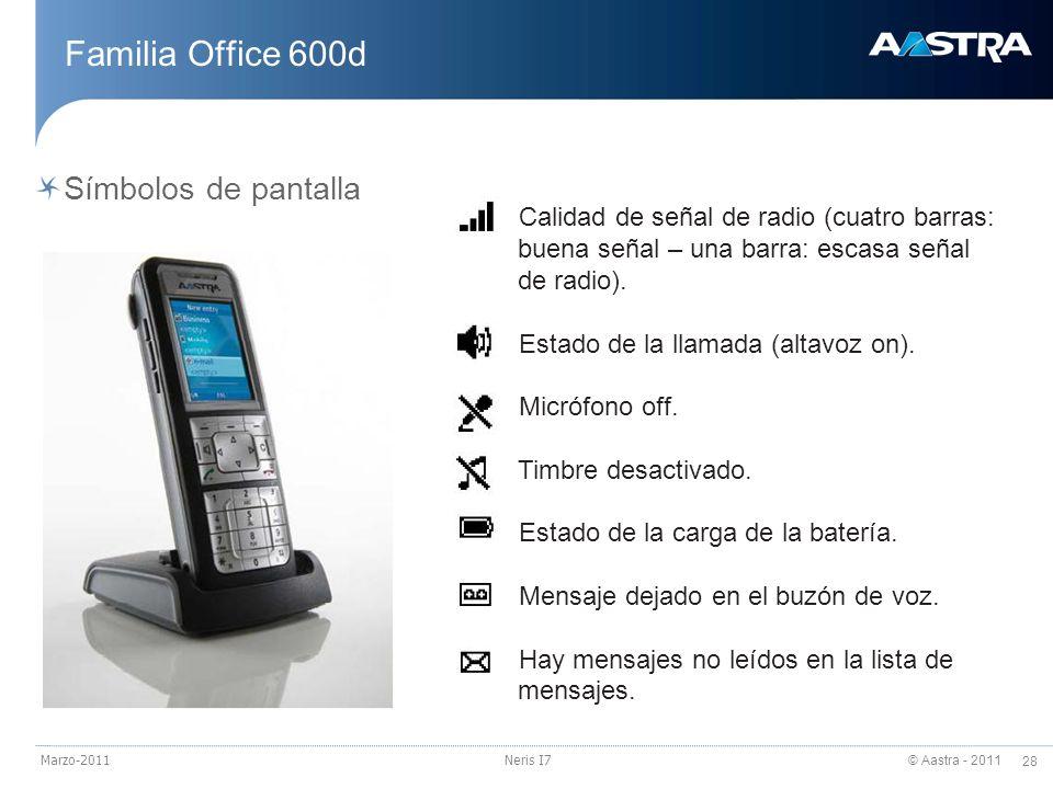 © Aastra - 2011 28 Marzo-2011Neris I7 Familia Office 600d Símbolos de pantalla Calidad de señal de radio (cuatro barras: buena señal – una barra: esca