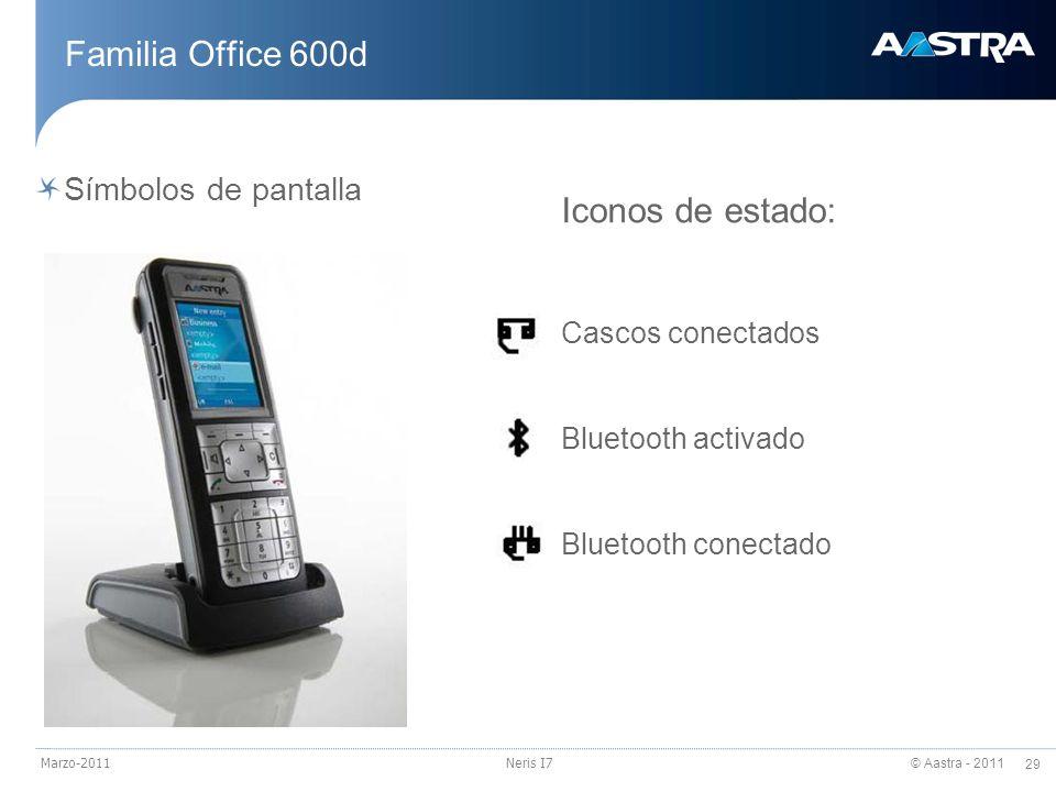 © Aastra - 2011 29 Marzo-2011Neris I7 Familia Office 600d Símbolos de pantalla Iconos de estado: Cascos conectados Bluetooth activado Bluetooth conect