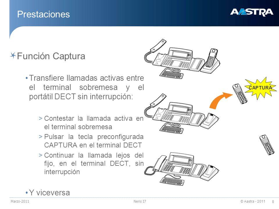 © Aastra - 2011 8 Marzo-2011Neris I7 Prestaciones Función Captura Transfiere llamadas activas entre el terminal sobremesa y el portátil DECT sin inter