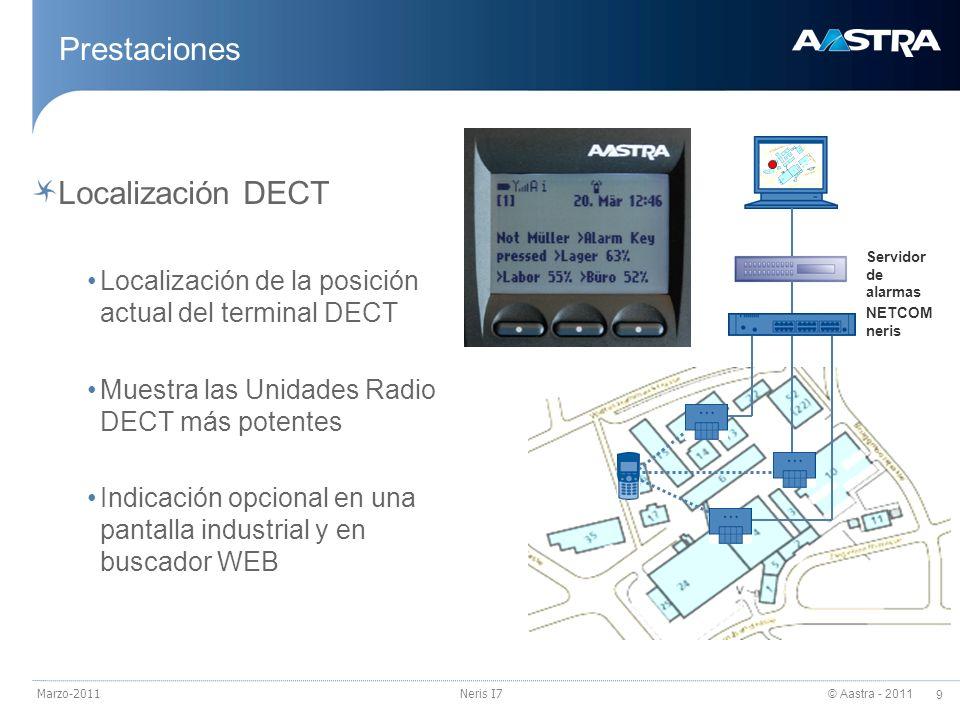 © Aastra - 2011 9 Marzo-2011Neris I7 Prestaciones Localización DECT Localización de la posición actual del terminal DECT Muestra las Unidades Radio DE