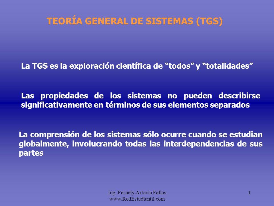 Ing. Fernely Artavia Fallas www.RedEstudiantil.com 1 TEORÍA GENERAL DE SISTEMAS (TGS) La comprensión de los sistemas sólo ocurre cuando se estudian gl