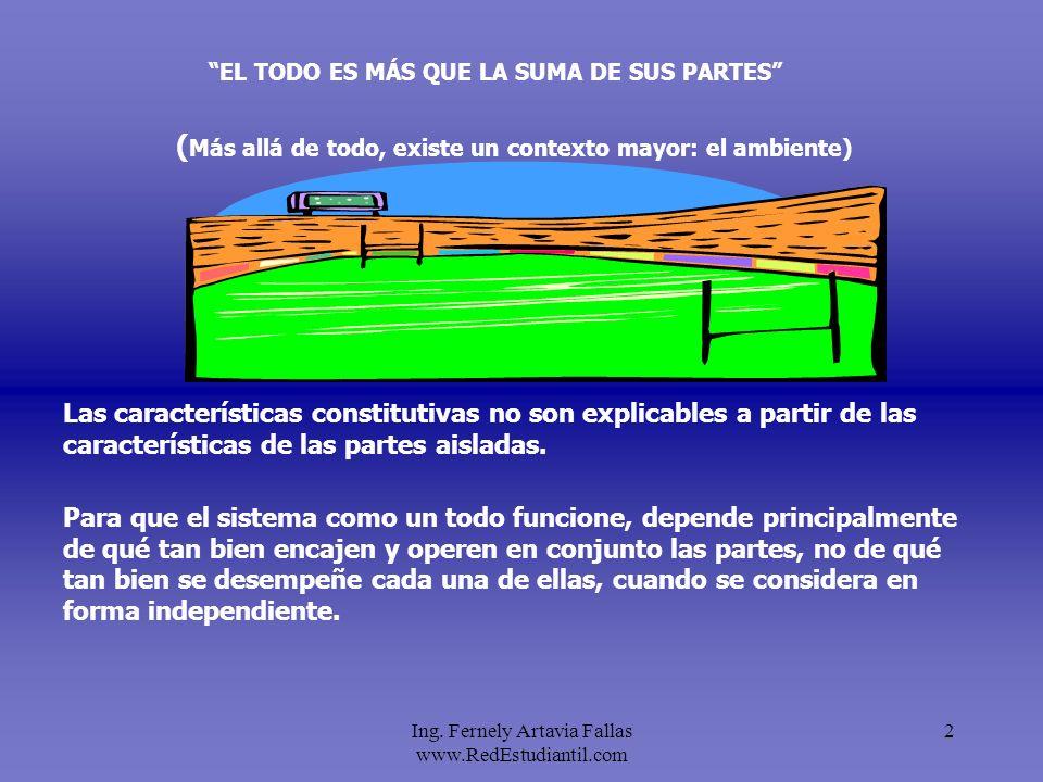 Ing. Fernely Artavia Fallas www.RedEstudiantil.com 2 EL TODO ES MÁS QUE LA SUMA DE SUS PARTES Para que el sistema como un todo funcione, depende princ