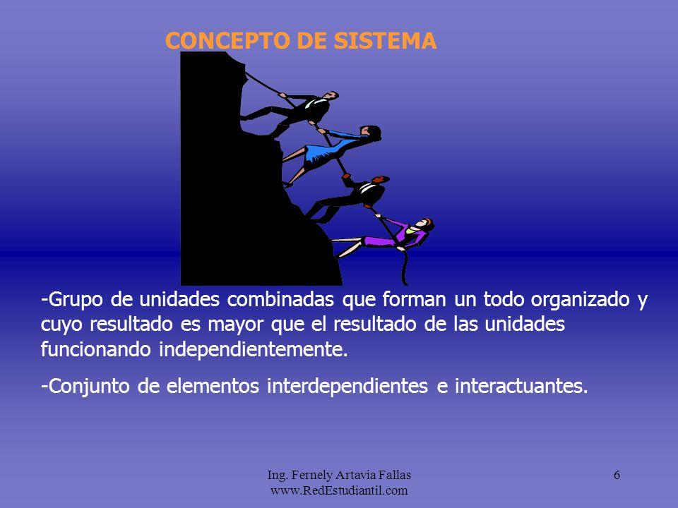 Ing. Fernely Artavia Fallas www.RedEstudiantil.com 6 CONCEPTO DE SISTEMA -Grupo de unidades combinadas que forman un todo organizado y cuyo resultado
