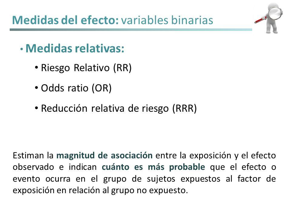 Medidas del efecto: variables binarias Medidas relativas: Riesgo Relativo (RR) Odds ratio (OR) Reducción relativa de riesgo (RRR) Estiman la magnitud