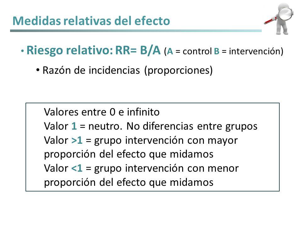 Medidas relativas del efecto Riesgo relativo: RR= B/A (A = control B = intervención) Razón de incidencias (proporciones) Valores entre 0 e infinito Va