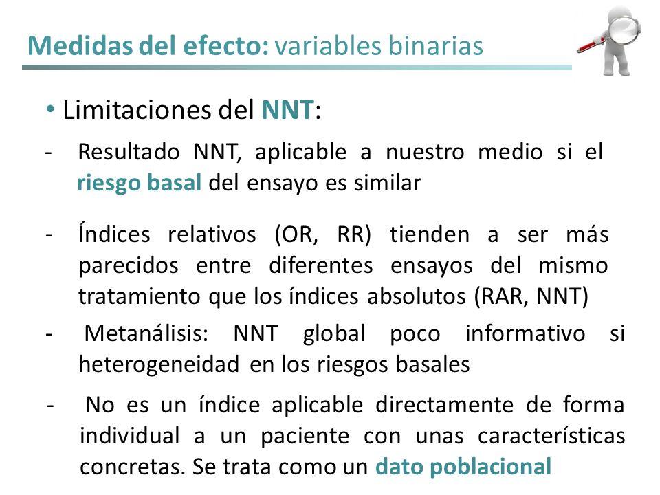 Medidas del efecto: variables binarias Limitaciones del NNT: - Resultado NNT, aplicable a nuestro medio si el riesgo basal del ensayo es similar -Índi