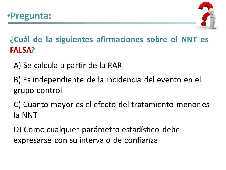 A) Se calcula a partir de la RAR B) Es independiente de la incidencia del evento en el grupo control C) Cuanto mayor es el efecto del tratamiento meno