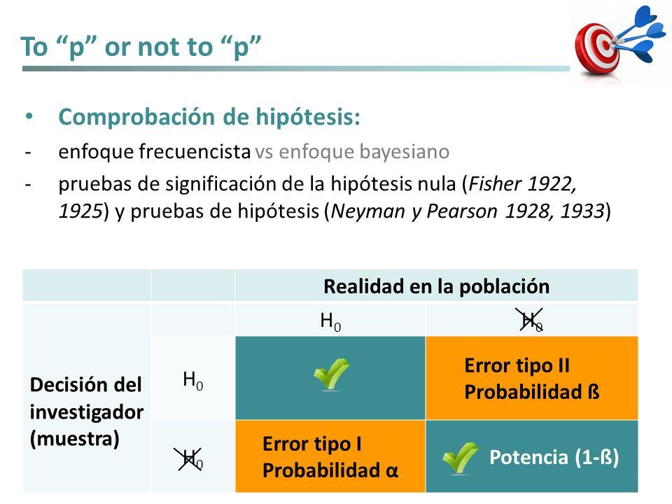 To p or not to p Comprobación de hipótesis: -enfoque frecuencista vs enfoque bayesiano -pruebas de significación de la hipótesis nula (Fisher 1922, 19