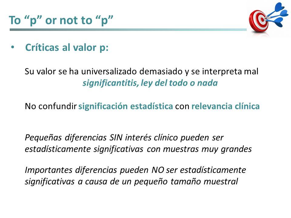 To p or not to p Críticas al valor p: Su valor se ha universalizado demasiado y se interpreta mal significantitis, ley del todo o nada No confundir si