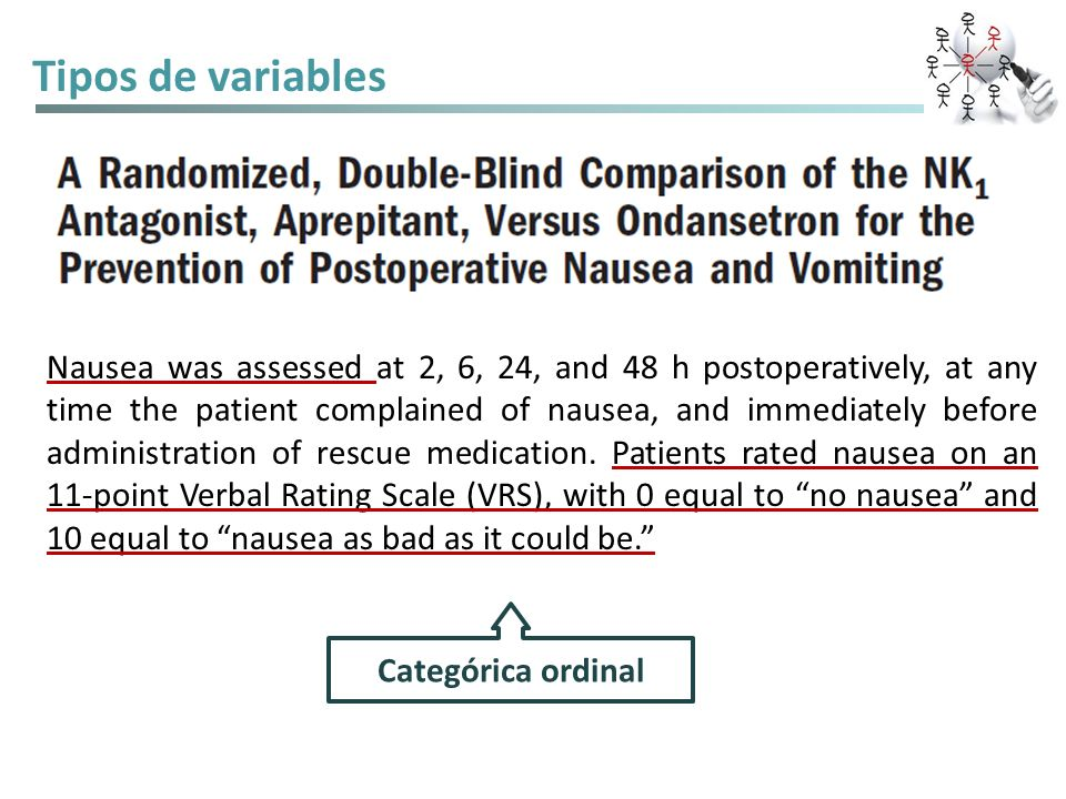 Tipos de variables Time-to-an event: tiempo transcurrido Additional safety assessments included awakening time (interval between end of surgery and patients ability to obey commands) and duration of recovery from anesthesia (postanesthesia recovery score of 8 on a 0–10 scale) (19).