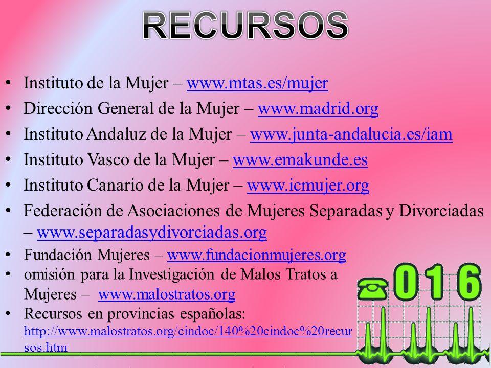 Instituto de la Mujer – www.mtas.es/mujerwww.mtas.es/mujer Dirección General de la Mujer – www.madrid.orgwww.madrid.org Instituto Andaluz de la Mujer