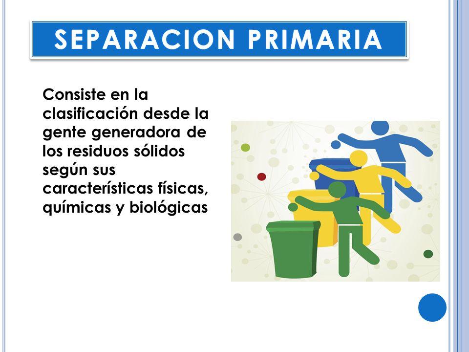 Consiste en la clasificación desde la gente generadora de los residuos sólidos según sus características físicas, químicas y biológicas