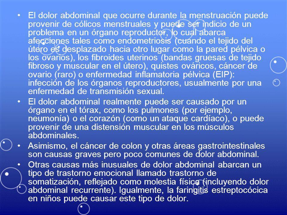 El dolor abdominal que ocurre durante la menstruación puede provenir de cólicos menstruales y puede ser indicio de un problema en un órgano reproducto
