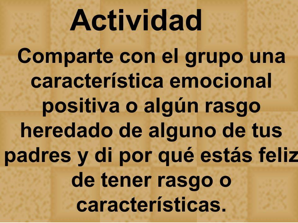 Actividad Comparte con el grupo una característica emocional positiva o algún rasgo heredado de alguno de tus padres y di por qué estás feliz de tener