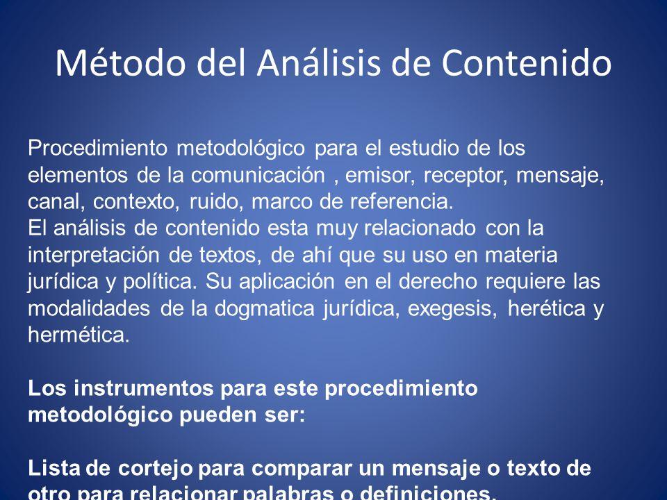 Método del Análisis de Contenido Procedimiento metodológico para el estudio de los elementos de la comunicación, emisor, receptor, mensaje, canal, con