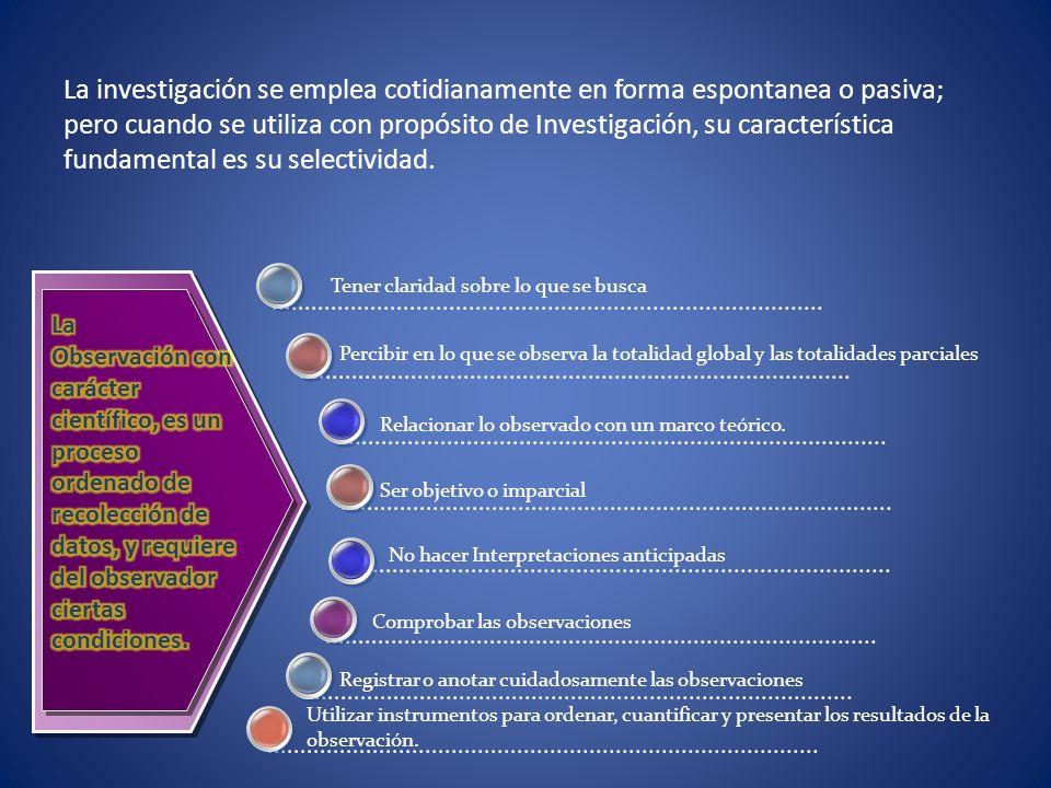La investigación se emplea cotidianamente en forma espontanea o pasiva; pero cuando se utiliza con propósito de Investigación, su característica funda