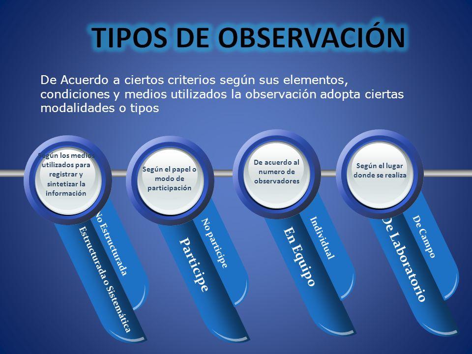 Your Text De Acuerdo a ciertos criterios según sus elementos, condiciones y medios utilizados la observación adopta ciertas modalidades o tipos En Equ