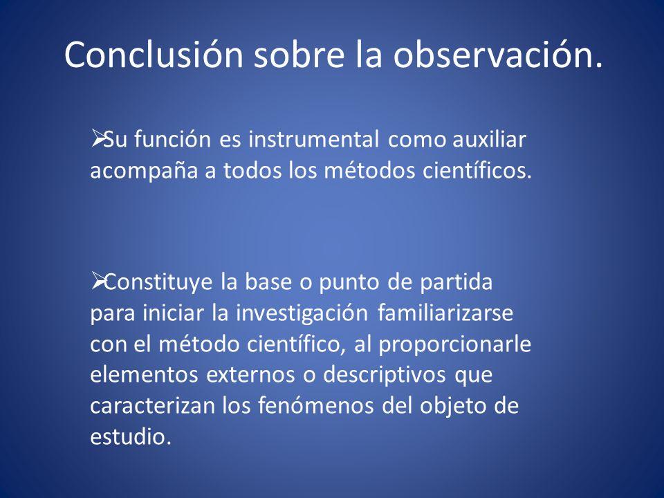 Conclusión sobre la observación. Su función es instrumental como auxiliar acompaña a todos los métodos científicos. Constituye la base o punto de part