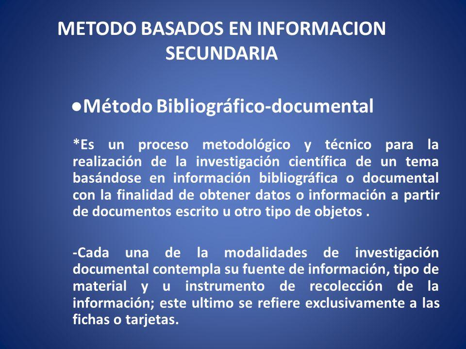 METODO BASADOS EN INFORMACION SECUNDARIA Método Bibliográfico-documental *Es un proceso metodológico y técnico para la realización de la investigación