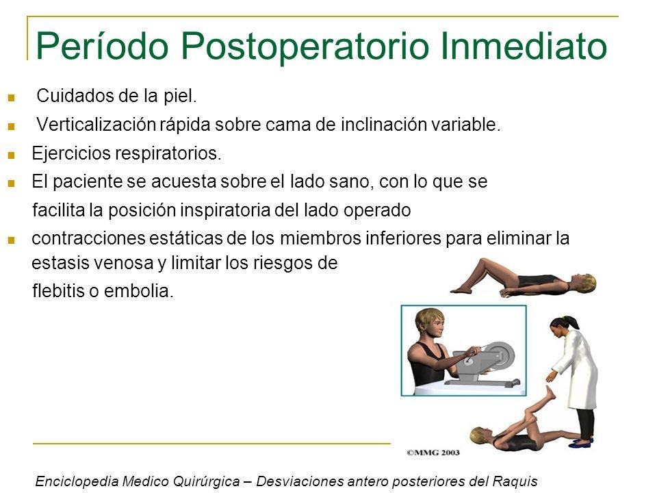 Período Postoperatorio Inmediato Cuidados de la piel. Verticalización rápida sobre cama de inclinación variable. Ejercicios respiratorios. El paciente