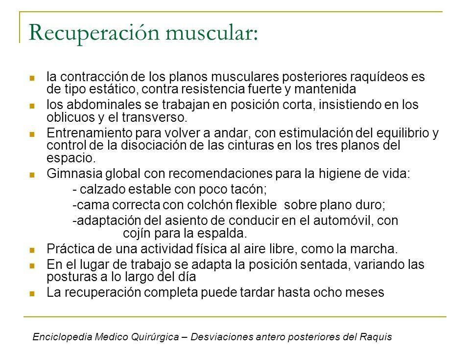 Recuperación muscular: la contracción de los planos musculares posteriores raquídeos es de tipo estático, contra resistencia fuerte y mantenida los ab
