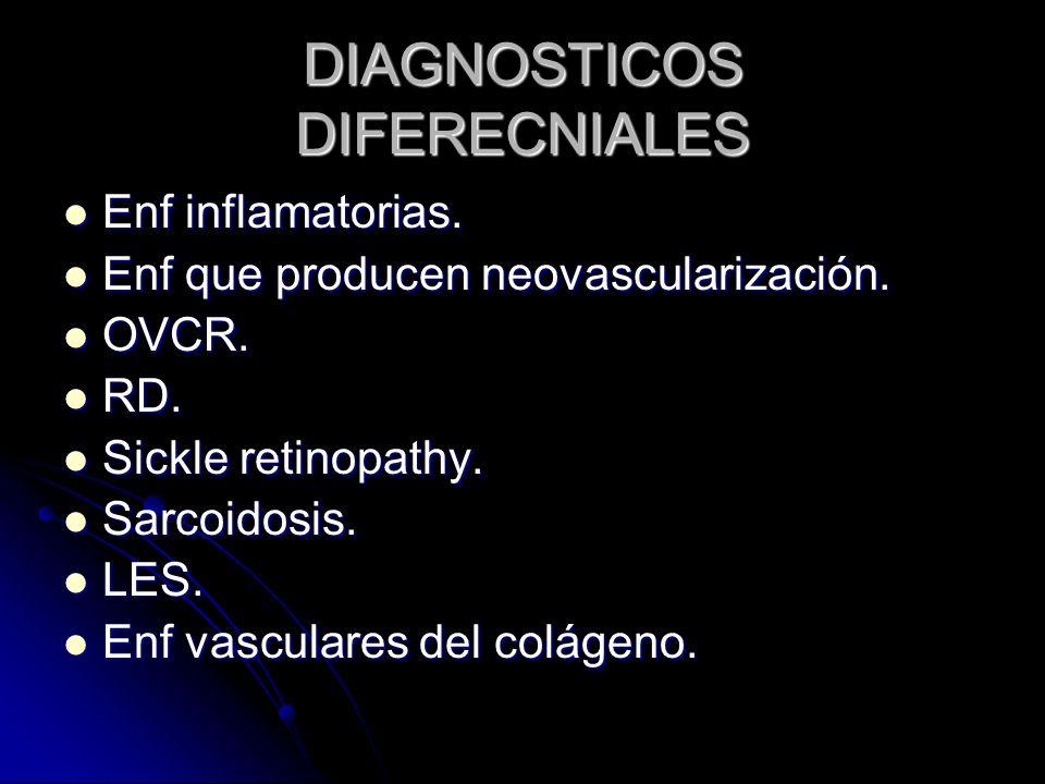 DIAGNOSTICOS DIFERECNIALES Enf inflamatorias. Enf inflamatorias. Enf que producen neovascularización. Enf que producen neovascularización. OVCR. OVCR.