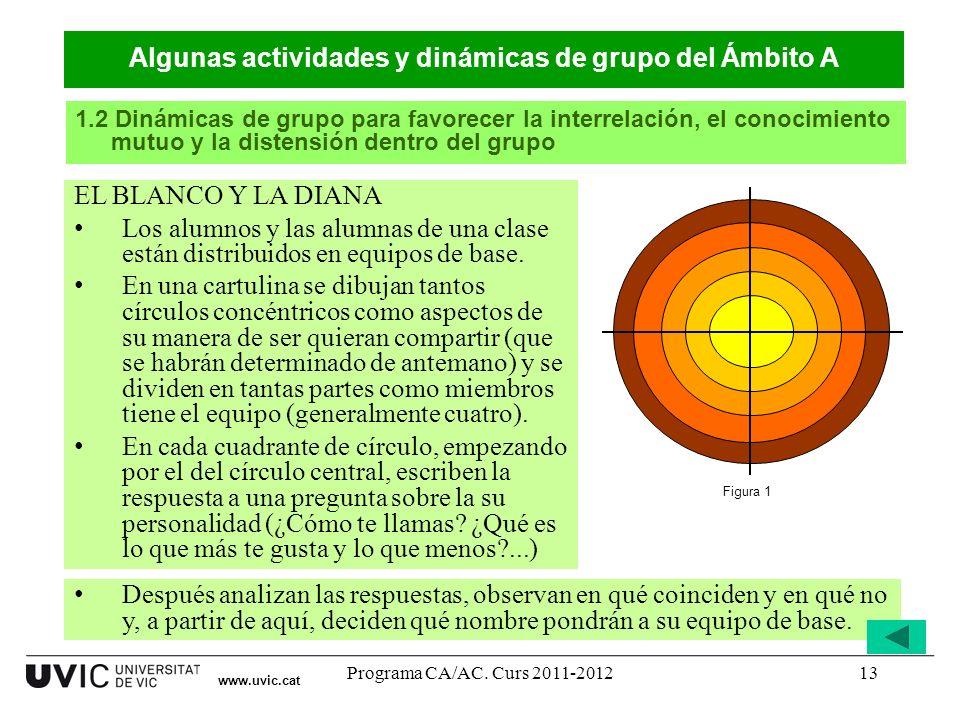 Programa CA/AC. Curs 2011-201213 www.uvic.cat EL BLANCO Y LA DIANA Los alumnos y las alumnas de una clase están distribuidos en equipos de base. En un