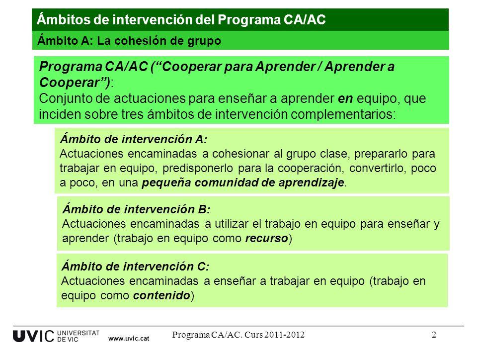 Programa CA/AC. Curs 2011-20122 www.uvic.cat Ámbitos de intervención del Programa CA/AC Ámbito A: La cohesión de grupo Programa CA/AC (Cooperar para A