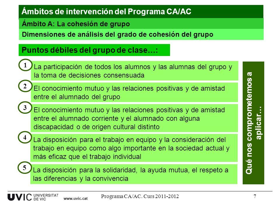 Programa CA/AC. Curs 2011-20127 www.uvic.cat Ámbitos de intervención del Programa CA/AC Ámbito A: La cohesión de grupo Dimensiones de análisis del gra