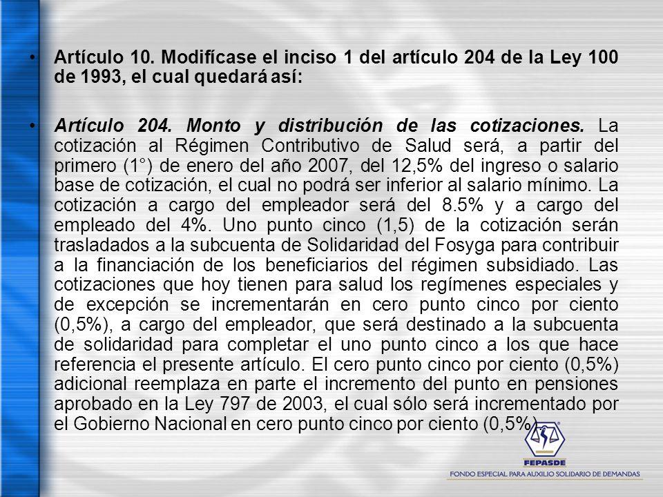 Artículo 10. Modifícase el inciso 1 del artículo 204 de la Ley 100 de 1993, el cual quedará así: Artículo 204. Monto y distribución de las cotizacione