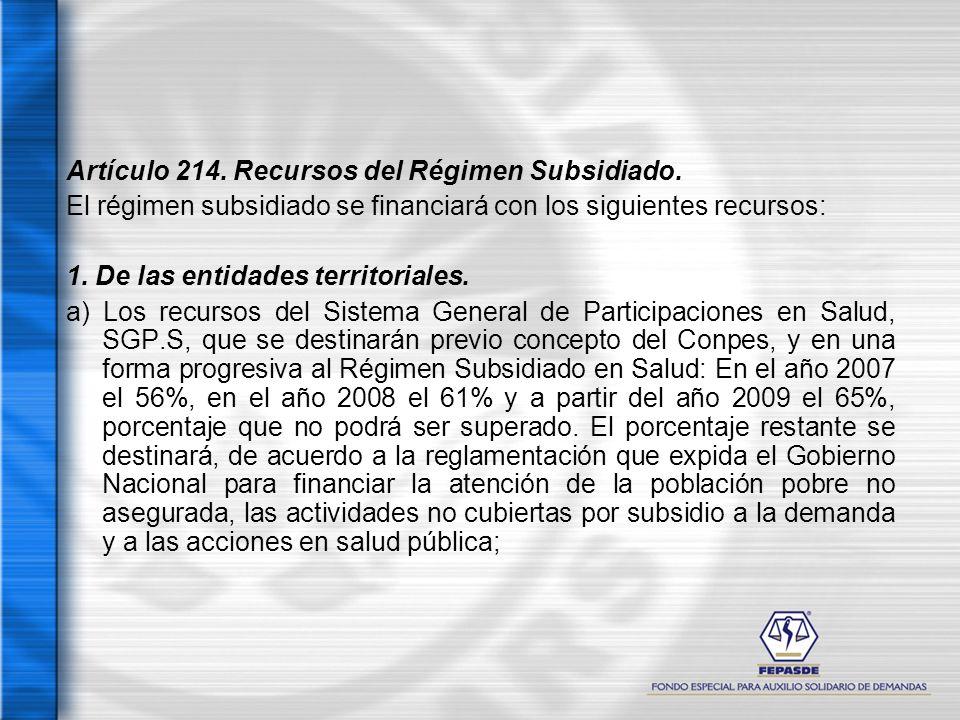 Artículo 214. Recursos del Régimen Subsidiado. El régimen subsidiado se financiará con los siguientes recursos: 1. De las entidades territoriales. a)